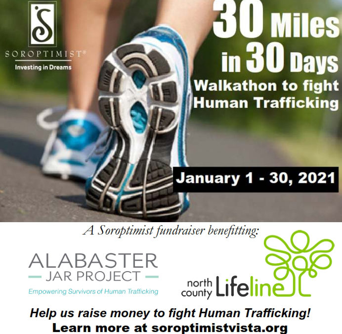 Vista Soroptimists to Host Walkathon to Fight Human Trafficking